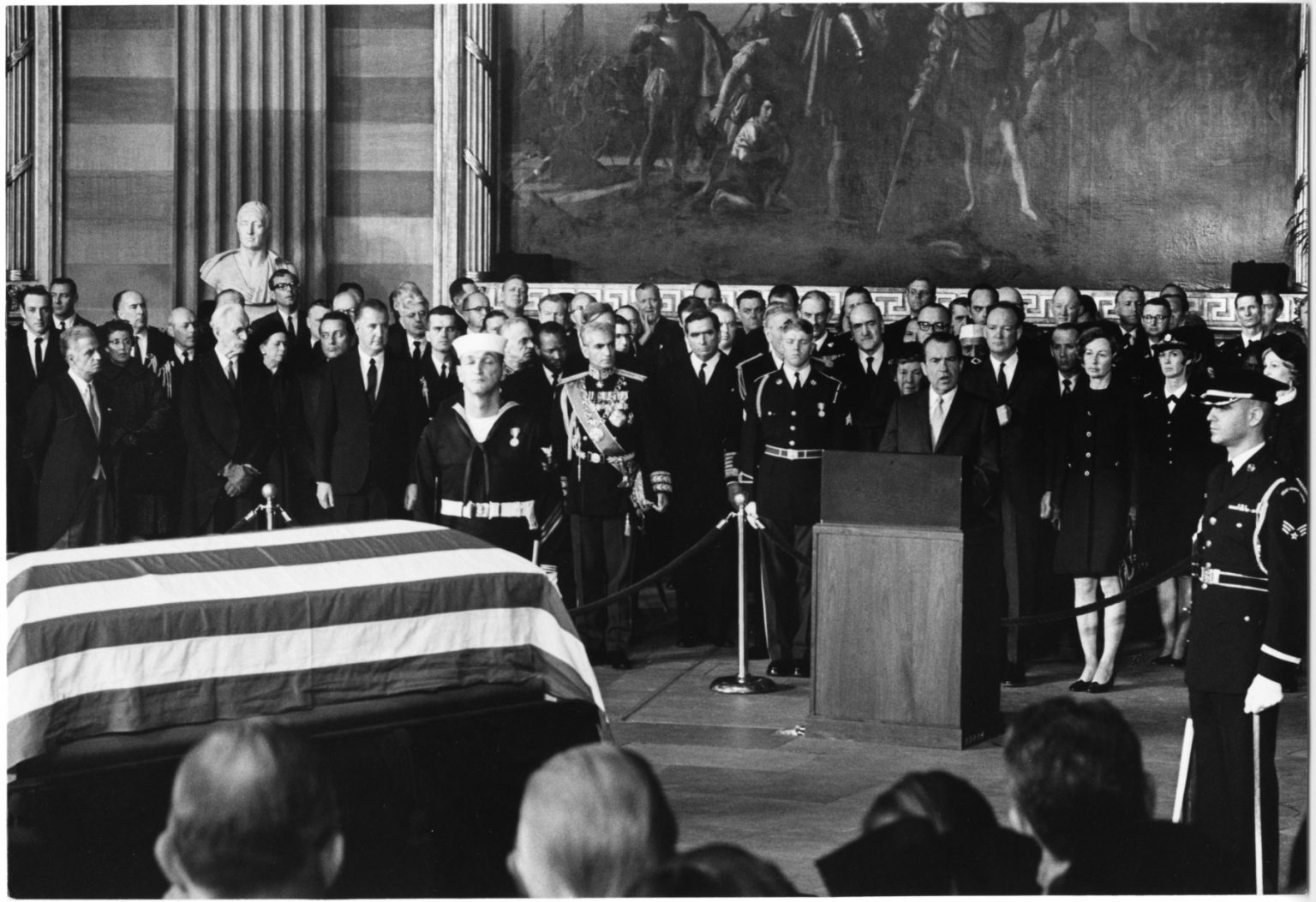Richard Nixon eulogizes Dwight Eisenhower