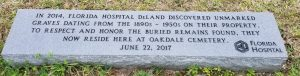 Marker to unknown burials now located in Oakdale Cemetery