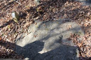 Carvings visible in the rock