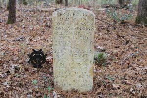 Joseph Pinson headstone reverse side