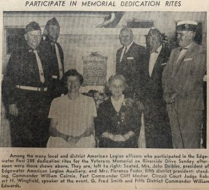 American Legion Officers Participating in the 1961 Memorial Dedication